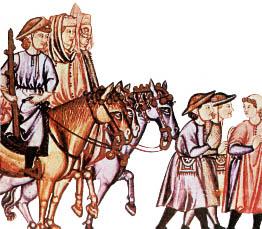 Romeros en camino (miniatura de las Cantigas)