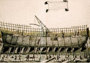 Construcción de una fragata en el siglo XVIII (Museo Naval. Madrid)
