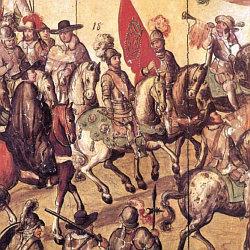 Panel de la Conquista (detalle). Museo de América de Madrid.