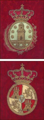 Escudos de armas que figuran bordados en el pendón de la ciudad de Betanzos