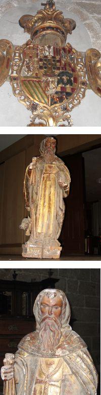 El escudo con las Armas Reales y la imagen de San Antonio Abad, que presidían el antiguo retablo de la Cofradía de Labradores y que figuraban en el pendón de esta asociación gremial (Iglesia de Santiago, s. XVII)