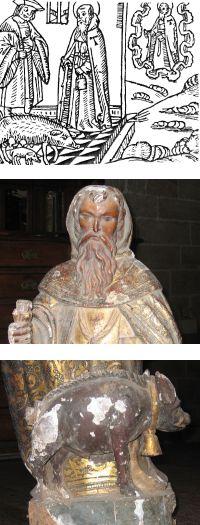 Arriba: San Antonio Abad con bastón, en el milagro de Barcelona | Centro y abajo: Detalles de la talla encontrada en Betanzos