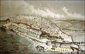 La fachada marítima del Arsenal y los nuevos barrios de La Magdalena y Esteiro de El Ferrol, 1872