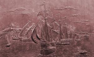 El Puerto de La Coruña en 1589. Relieve en bronce en el Monumento a María Pita.