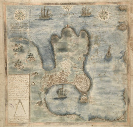 Plano de La Coruña en 1639, por Juan de Santáns
