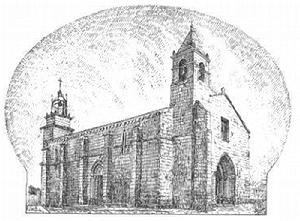 Iglesia de Santiago de Betanzos. Dibujo de Francisco Javier Martínez Santiso (s. XIX)