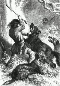 Caza de lobos. Grabado británico del s. XIX