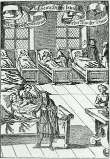 Médico en un Hospital - Grabado de 1682