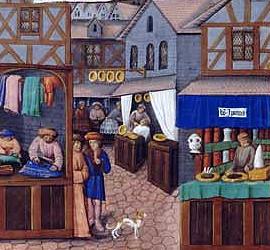 Mercado callejero. Detalle del Theatrum Sanitatis. S. XIV