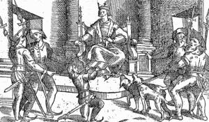 Alfonso XI. Ilustración del Libro de la Montería, 1582.