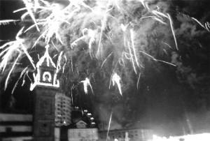 Fuegos de artificio en las fiestas de San Roque. Archivo del Autor.