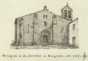 Iglesia de San Salvador de Bergondo. Dibujo de F. J. Martínez Santiso. Original en el archivo del autor.