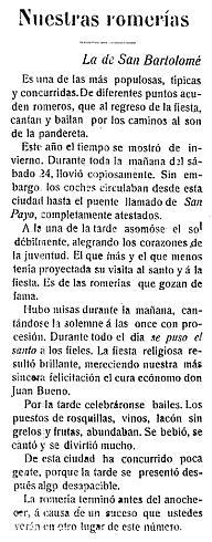 Crónica de la romería en Nueva Era, 1912.