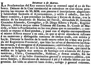 Extracto de la Gaceta de Madrid, de 5 de mayo de 1789.
