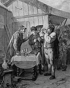 El vendedor ambulante de tabaco. Grabado francés de 1869.