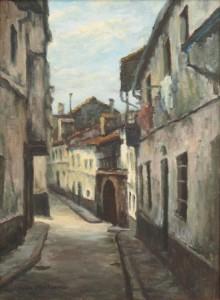 Calle de Sobre el Pai Fermoso. Óleo de Pilar Díaz Monterroso. Colección del Autor.