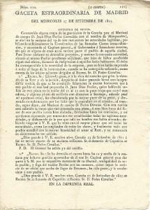 Noticia del alzamiento de Porlier en la Gaceta de Madrid, 1815. Archivo del autor.
