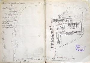 """""""Plano del Perímetro de los Baños de Arteijo"""". 1884."""
