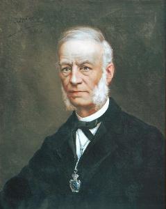 Dr. Antonio Casares Rodríguez, primer analista de las aguas de Arteixo. Retrato al óleo de José María Fenollera.