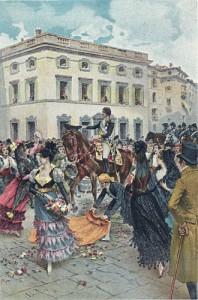 Entrada de Fernando VII en Madrid. Acuarela de Lucius Rossi.