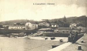 Dársena de Corcubión. Foto Tamarro, década de 1920.