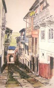 Plumilla coloreada de la Calle de Aarón, por Galán Hidalgo, 1985. Col. del autor.
