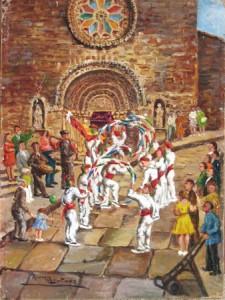 Danzas del gremio de los mareantes, de la cofradía de San Miguel, ante la iglesia de Santa María del Azogue donde estaba instituida. Óleo de Rosina Martínez.