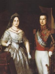 Retrato de Isabel II y Francisco de Asís. Anónimo.