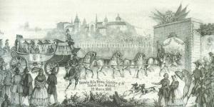 Entrade la Reina Cristina e Isabel II en Madrid, 23 de marzo de 1844.