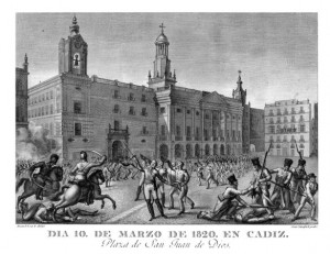 Día 10 de marzo de 1820 en Cádiz. Grabado de Juan Garraga sobre dibujo de Manuel Roca.
