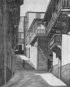 Aguafuerte de Méndez Pena que representa la Calle de Alonso Porca o del Pinche