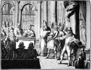 Bautismo y confirmación de Felipe IV, Rey de España. Grabado del siglo XVIII.
