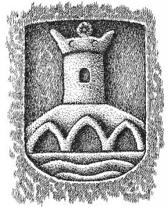 Escudo de Betanzos descubierto por el Cronista que suscribe. Dibujo de Xosé Antón.