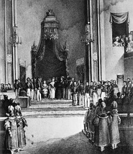 La reina regente, María Cristina, jura en Madrid la constitución de 1837