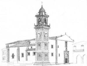 La iglesia de Santo Domingo. Dibujo de los alumnos de la ETS de Arquitectura de La Coruña.