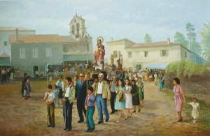 La procesión de San Pantaleón el 27 de julio de 1980, discurre por el entorno de la iglesia y del Pazo de Montecelo. Óleo del artista Manuel Anido, 2014.