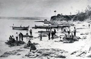 Aspecto de la Ribeira de Miño en 1925, al pie del Almacén. Foto de José Faraldo Basoa, gentileza de José Rodríguez Allegue.