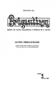 Las pesas y medidas de Betanzos. Separata de la revista Brigantium.1982.