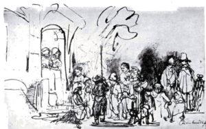 Niños cantando por las puertas en la noche de Reyes. Obra de Rembrandt, conservada en el British Museum.