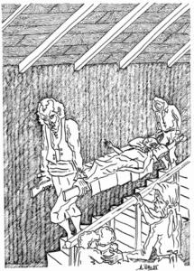 Traslado de un apestado. Dibujo de Antonio Palla, 1985.